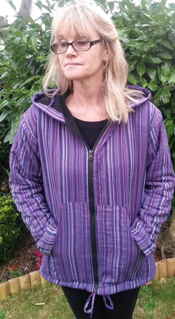 Men and Women's Fleece Lined Stripe Jacket, Colourful Unisex Hoody, M L XL XXL