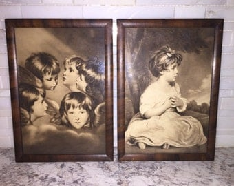 Vintage children angeled wing framed pictures. Cherub, wall art, home decor