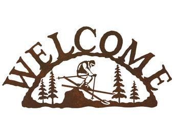 Skier Steel Welcome Sign