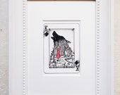 """Little Red Riding Hood Art Print, Red Ridinghood, Big bad wolf Art, Matted Art Print, Playing card art, Fairy tale Art, """"The King of Wolves"""""""