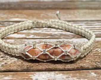 Raw Crystal Jewelry / Crazy Lace Agate Bracelet / Crazy Lace Agate Jewelry / White Healing Bracelet
