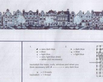 Delft blue Amsterdam Houses cross stitch kit (A8)