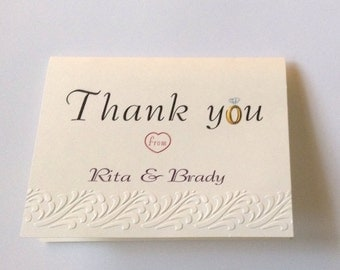 5 wedding thank you cards with envelope