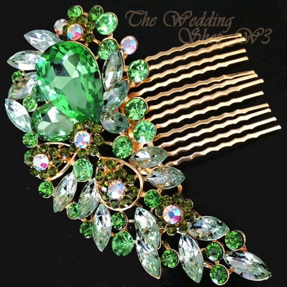 Elegant Bridal Set Heavy Gold Plated Diamante Crystal: Gold Green Vintage Style Hair Comb Encrusted Crystals Diamante