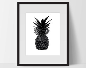 Pineapple, Wall Art, Artwork, Home Decor, Modern Print, Print Art, Abstract Art, Black White, Decorations, Digital Print
