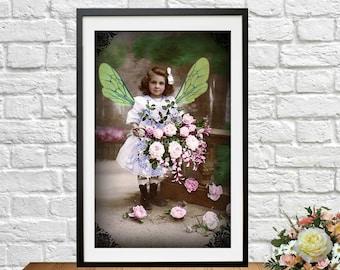 Fairy Girl Digital Collage Vintage Victorian Child Ephemera Alter Art Instant Download  Printable  Image Scrapbooking Cards Digital