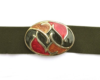 Vintage olive green elastic belt, army green stretch belt, abstract red gold green earth tones enamel buckle moss artichoke