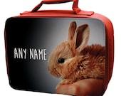 Red Personalised Baby Bunny  Lunch Bag  school  kids  children girls boys