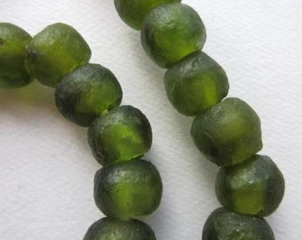 Olive Green Ghana Glass Beads (15x13mm) [62997]