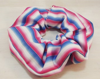 Candy Striped Tricolour Hair Scrunchie - FREE UK SHIPPING