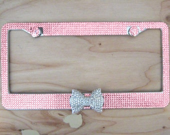 Pink Glass Bling Rhinestone License Plate Frame with Clear/White Bow on Middle and 2 Caps