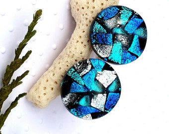 Mens Jewellery -Gift for Him- Large Round Glass Cufflinks- Dichroic Glass Cufflinks - Blue And Silver Glass Cufflinks -Fused Glass Cufflinks