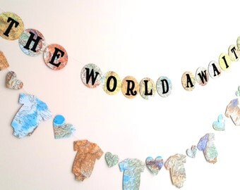 Travel Theme Baby Shower Banner  The World Awaits Baby Shower Banner  Map Baby  Shower