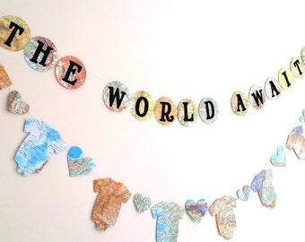Travel Theme Baby Shower Banner- The World Awaits Baby Shower Banner- Map Baby Shower Decoration-Decorative Garland- Atlas Baby Shower Decor