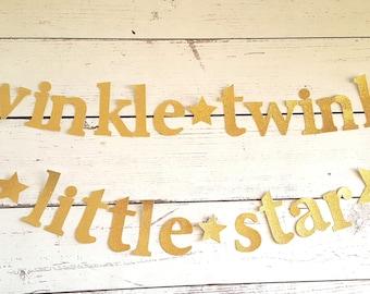 Twinkle Twinkle Little Star Garland/Gold twinkle twinkle stars/Twinkle Photo Prop/baby shower decoration/Twinkle twinkle little star banner