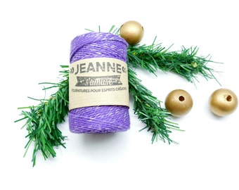 """1 x 100 m coil cord """"Bakers twine"""", purple and silver metallic thread, 2 strands, 2 mm"""