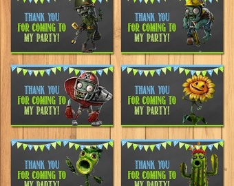 Plants Vs Zombies Party Tags Chalkboard * Plants Vs Zombies Favor Tags * PVZ Party Favors * Plants Vs Zombies Birthday Party Printables
