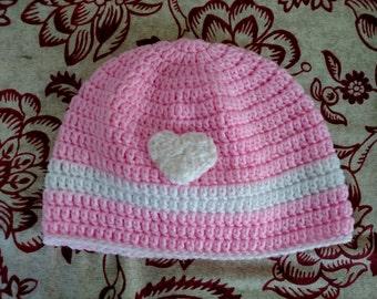 Pink & White Crocheted Beanie