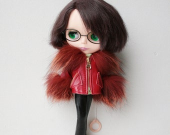 Blythe jacket, Leather coat for doll, Red clothes for Blythe doll, Red leather jacket, Doll outfit, Red leather outfit for Licca doll