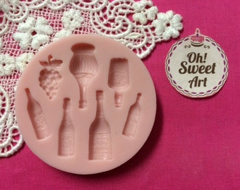 Wine Bottles Silicone Mold Cake Decorating Sugar Flower FDA APPROVED