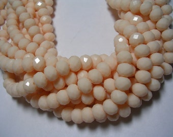 Champagne Crystals 8mm X 6mm Ivory Crystal Rondelles Peach Colored Glass Faceted Beige Beads 16 inch strand 70 Crystals Sparking Ivory Beads