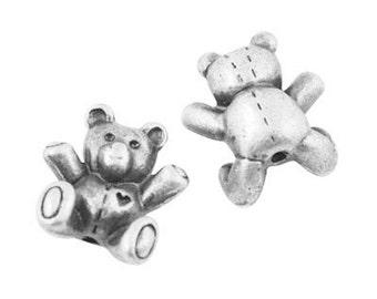 Silver Bear Charms 3-D Teddy Bears Teddy Bear Beads 10 Charms Antiqued Silver Animals
