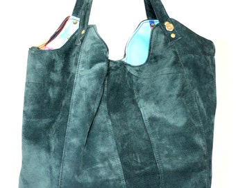 Handmade Large Suede Bag, Hobo Bag, Recycled Leather Bag, Green Suede Bag, Leather Tote, Leather Handbag, Reused Leather Bag, Unique Bag,