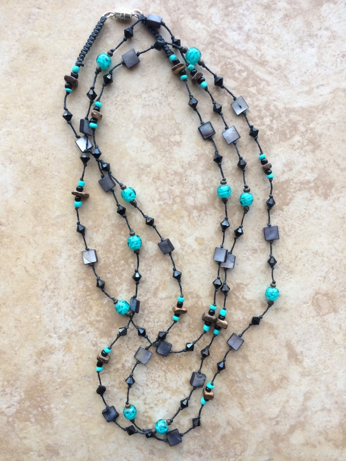 black stone necklace knotted necklace turquoise gray. Black Bedroom Furniture Sets. Home Design Ideas