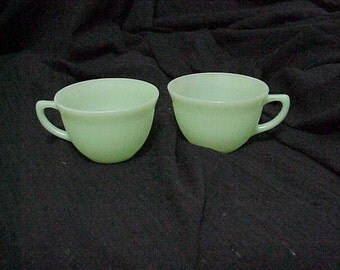 Fire King Jadeite Jane Ray Ribbed Cups-2 Coffee Cups Tea Cups Beverage Cups