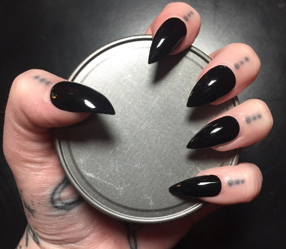 Black Stiletto Nails Full Set