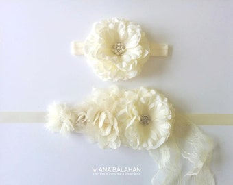 Flower girl sash, Maternity sash, Bridesmaid belt, Wedding sash and Headpiece, Bridal sash, Flower sash, Newborn baby sash, Sash & Headpiece
