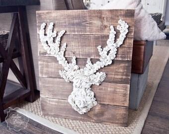Rustic Paper Flower Deer Head Wall Art