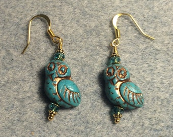Turquoise with copper wash fancy Czech glass owl bead earrings adorned with turquoise Chinese crystal beads.