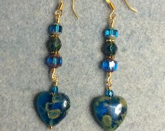 Turquoise travertine Czech glass heart bead dangle  earrings adorned with turquoise Czech glass beads.