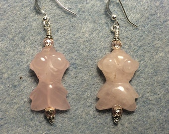 Rose quartz gemstone goldfish bead earrings adorned with pink Chinese crystal beads.