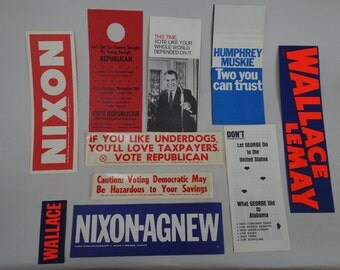 set of TEN pieces of paper ephemera from 1968 presidential election, among others.