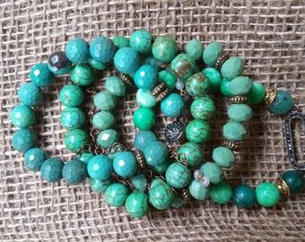 Green Turquoise Bracelet Set / Jade Jewelry / Semi Precious Gemstone Jewelry / Boho Jewelry/ Swarovski Connector