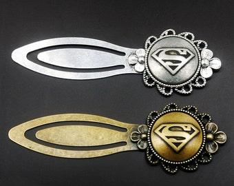 Superman Bookmark -Personalized Metal Bookmark -Flower Bookmark -Book Lover Gift