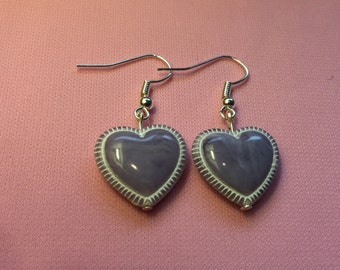 purple heart earrings