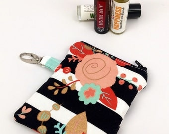 Mini Essential Oil Case, Essential Oil Holder, Keychain. *YOU PICK* holds 3 roller bottles or 2 5ML and/or 15ML essential oil bottles!