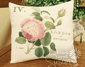 "Pink Cabbage Rose Pillow Cover | 100% Cotton Canvas | 12"" x 12"", 16"" x 16"", 20"" x 20"" 