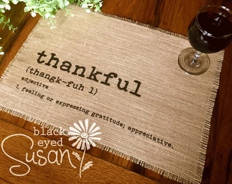 "Thankful Placemat of Natural Burlap with Raw and Reinforced Edge | 11"" x 16"""