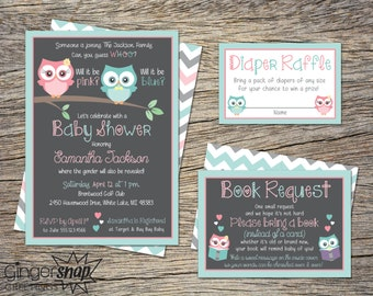 Owl Baby Shower Invitation Gender Reveal Invitation