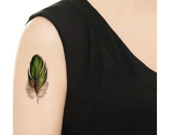 Temporary Tattoo - Set of 2 Green Feathers / Vintage Feather