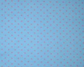 Knit Sky Blue with Pink Dots Fabric 1 yard