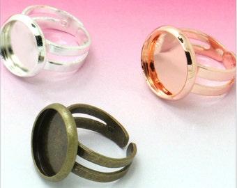 12mm Rings Setting , Ring Setting, Adjustable Rings , Pad Ring Blanks , Ring Bases, Ring Bases 20pcs/lot