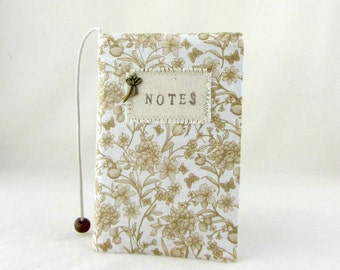 Notebook cover, small notebook, floral pocket book, fabric notebook, removable notebook cover, yellow