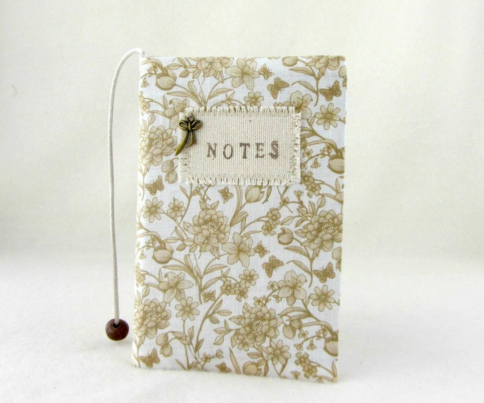 Removable Fabric Book Cover ~ Notebook cover small floral pocket book fabric