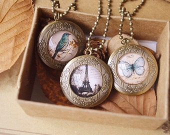 locket necklace,butterfly necklace,Eiffel Tower locket necklace,cute bird locket necklace