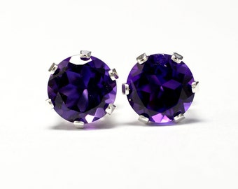 Amethyst earrings 6mm;Stud Earrings;Sterling silver earrings;Purple Earrings;Minimalist Earrings;Februrary birthstone;Gift;Valentines day